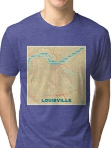 Louisville Map Retro Tri-blend T-Shirt