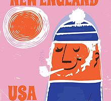 Rhode Island, New England fisherman vintage poster by Nick  Greenaway