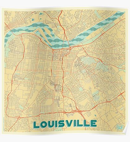 Louisville Map Retro Poster