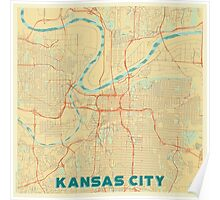 Kansas City Map Retro Poster