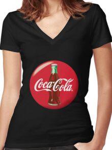 Coke Logo Women's Fitted V-Neck T-Shirt