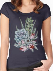 Midnight Succulents Women's Fitted Scoop T-Shirt