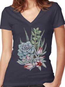 Midnight Succulents Women's Fitted V-Neck T-Shirt