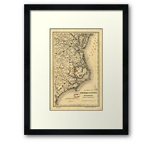 Vintage Map of The North Carolina Coast (1887) Framed Print
