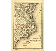 Vintage Map of The North Carolina Coast (1887) Photographic Print