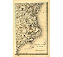 Vintage Map of The North Carolina Coast (1887) Photographic Print