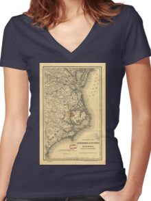 Vintage Map of The North Carolina Coast (1887) Women's Fitted V-Neck T-Shirt