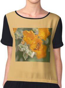 Honey Bee With Yellow Orange Flowers Chiffon Top