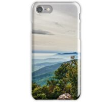 Beautiful mountains landscape from the top of the hill with fog, Alsace, France iPhone Case/Skin
