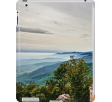 Beautiful mountains landscape from the top of the hill with fog, Alsace, France iPad Case/Skin