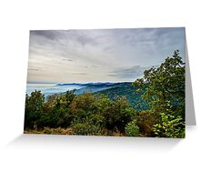 Beautiful mountains landscape from the top of the hill with fog, Alsace, France Greeting Card