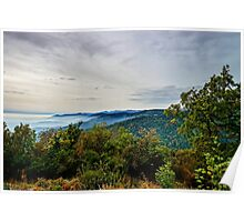 Beautiful mountains landscape from the top of the hill with fog, Alsace, France Poster
