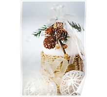 Decoration with snowy cones and white baubles Poster