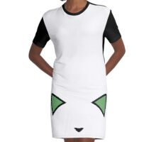 Invisible Green Meow Graphic T-Shirt Dress