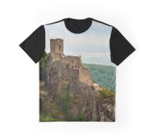 Majestic medieval castle Girsberg ruins on the top of the hill, Alsace, France Graphic T-Shirt