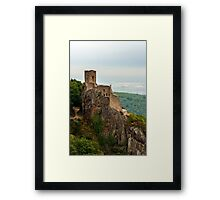 Majestic medieval castle Girsberg ruins on the top of the hill, Alsace, France Framed Print