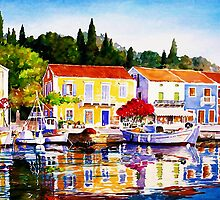 Island Harbour by painting-greece