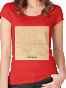 Fresno Map Retro Women's Fitted Scoop T-Shirt