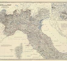 Vintage Map of Northern Italy (1861) by BravuraMedia