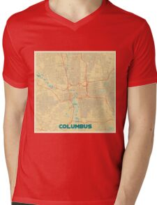 Columbus Map Retro Mens V-Neck T-Shirt