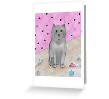 Bored Cat with Toys Greeting Card