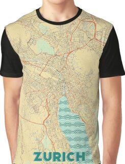 Zurich Map Retro Graphic T-Shirt