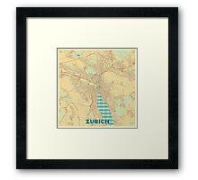 Zurich Map Retro Framed Print