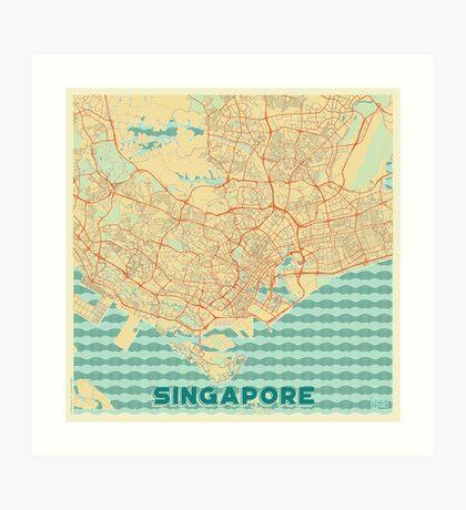 Singapore Map Retro Art Print