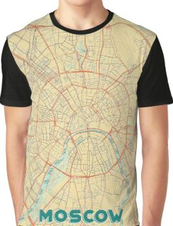Moscow Map Retro Graphic T-Shirt