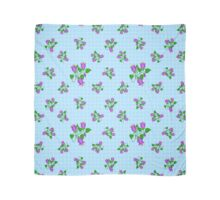 Bluebell floral pattern on light blue squared background.  Scarf