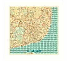 Lisbon Map Retro Art Print