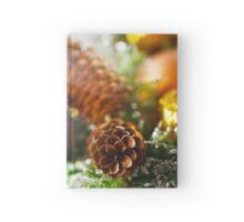 Christmas background with bright decoration Hardcover Journal