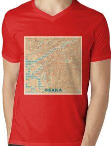 Osaka Map Retro Mens V-Neck T-Shirt