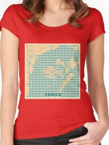 Venice Map Retro Women's Fitted Scoop T-Shirt