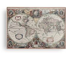 Vintage Map of The World (1630) Metal Print
