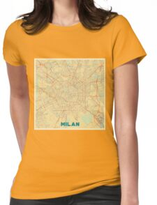Milan Map Retro Womens Fitted T-Shirt