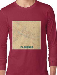 Florence Map Retro Long Sleeve T-Shirt