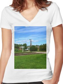 Wind Power Women's Fitted V-Neck T-Shirt
