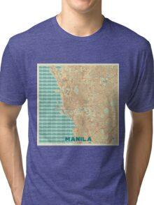 Manila Map Retro Tri-blend T-Shirt