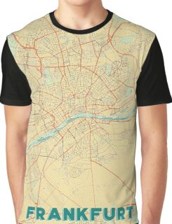 Frankfurt Map Retro Graphic T-Shirt