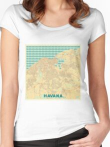 Havana Map Retro Women's Fitted Scoop T-Shirt