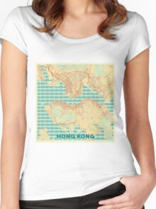 Hong Kong Map Retro Women's Fitted Scoop T-Shirt