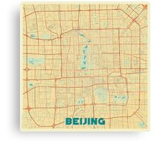 Beijing Map Retro Canvas Print
