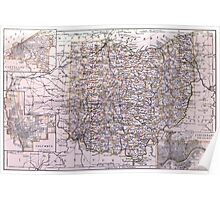 Vintage Map of Ohio (1884)  Poster