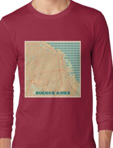 Buenos Aires Map Retro Long Sleeve T-Shirt