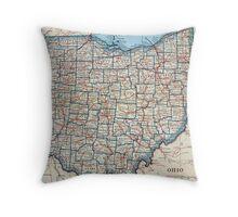 Vintage Map of Ohio (1921) Throw Pillow
