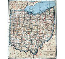 Vintage Map of Ohio (1921) Photographic Print