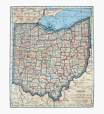 Vintage Map of Ohio (1921) Photographic Print