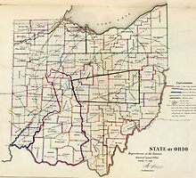 Vintage Map of Ohio (1866)  by BravuraMedia