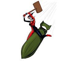 Harley Quinn Riding a Bomb Photographic Print